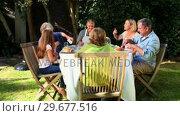 Купить «Family meal in garden», видеоролик № 29677516, снято 6 ноября 2010 г. (c) Wavebreak Media / Фотобанк Лори