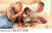 Купить «Father and mother playing with baby on carpet», видеоролик № 29677608, снято 6 ноября 2010 г. (c) Wavebreak Media / Фотобанк Лори