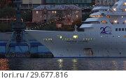 Купить «Ночной вид на круизный лайнер Pacific Venus в морском порту», видеоролик № 29677816, снято 7 сентября 2018 г. (c) А. А. Пирагис / Фотобанк Лори