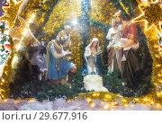 Christmas (New Year holidays) decoration in Moscow (at night), Russia--near the Christ the Savior Cathedral (2019 год). Стоковое фото, фотограф Владимир Журавлев / Фотобанк Лори