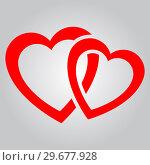 Купить «Two red hearts», иллюстрация № 29677928 (c) Сергей Лаврентьев / Фотобанк Лори