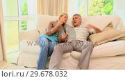 Купить «Couple looking at sports on tv», видеоролик № 29678032, снято 6 ноября 2010 г. (c) Wavebreak Media / Фотобанк Лори