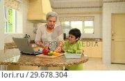 Купить «Woman cooking with her grandson», видеоролик № 29678304, снято 5 ноября 2010 г. (c) Wavebreak Media / Фотобанк Лори