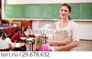 Купить «Teacher standing upright», видеоролик № 29678632, снято 5 ноября 2011 г. (c) Wavebreak Media / Фотобанк Лори
