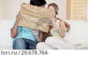 Купить «A couple receiving a package», видеоролик № 29678764, снято 3 ноября 2011 г. (c) Wavebreak Media / Фотобанк Лори