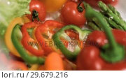 Купить «Sliced peppers dropping in super slow motion», видеоролик № 29679216, снято 26 января 2012 г. (c) Wavebreak Media / Фотобанк Лори