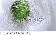 Купить «Pepper falling into water in super slow motion», видеоролик № 29679348, снято 26 января 2012 г. (c) Wavebreak Media / Фотобанк Лори