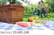 Купить «Family dancing in a cirlcle in the background with a platter on a picnic basket in the foreground», видеоролик № 29680248, снято 17 ноября 2011 г. (c) Wavebreak Media / Фотобанк Лори