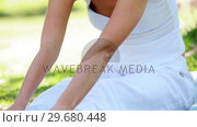 Купить «A woman performing yoga in the park», видеоролик № 29680448, снято 17 ноября 2011 г. (c) Wavebreak Media / Фотобанк Лори
