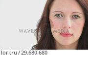 Купить «Head shot of smiling woman looking at the camera», видеоролик № 29680680, снято 22 ноября 2011 г. (c) Wavebreak Media / Фотобанк Лори