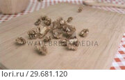 Купить «Walnut kernels falling in super slow motion on a wood board», видеоролик № 29681120, снято 24 февраля 2012 г. (c) Wavebreak Media / Фотобанк Лори