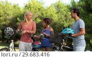 Купить «Discussing family with their bikes», видеоролик № 29683416, снято 16 октября 2012 г. (c) Wavebreak Media / Фотобанк Лори