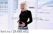 Купить «Pretty blonde woman suffering from belly pain», видеоролик № 29685652, снято 6 августа 2013 г. (c) Wavebreak Media / Фотобанк Лори