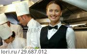 Купить «Chefs preparing plates», видеоролик № 29687012, снято 23 ноября 2015 г. (c) Wavebreak Media / Фотобанк Лори