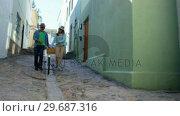 Купить «Mature couple walking with bicycle in alley», видеоролик № 29687316, снято 3 февраля 2016 г. (c) Wavebreak Media / Фотобанк Лори