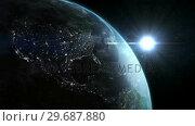 Купить «Satellite view of earth and moon», видеоролик № 29687880, снято 29 марта 2016 г. (c) Wavebreak Media / Фотобанк Лори