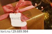 Купить «Close-up of wrapped gift», видеоролик № 29689984, снято 31 августа 2016 г. (c) Wavebreak Media / Фотобанк Лори