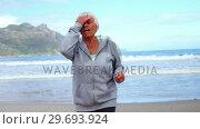 Купить «Senior woman jogging on the beach», видеоролик № 29693924, снято 29 сентября 2016 г. (c) Wavebreak Media / Фотобанк Лори