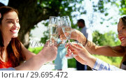 Купить «Group of friends toasting champagne glasses while having lunch», видеоролик № 29695472, снято 21 ноября 2016 г. (c) Wavebreak Media / Фотобанк Лори
