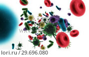 Купить «Digitally generated virus cells, red blood cells and bacteria against white background», видеоролик № 29696080, снято 20 октября 2016 г. (c) Wavebreak Media / Фотобанк Лори
