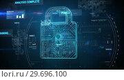 Купить «Futuristic padlock against digitally generated background», видеоролик № 29696100, снято 24 ноября 2016 г. (c) Wavebreak Media / Фотобанк Лори