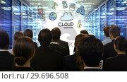 Купить «Business people looking at digital screen showing cloud computing», видеоролик № 29696508, снято 5 июля 2016 г. (c) Wavebreak Media / Фотобанк Лори