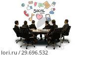 Купить «Businesspeople looking at futuristic screen showing social media symbol», видеоролик № 29696532, снято 5 июля 2016 г. (c) Wavebreak Media / Фотобанк Лори