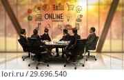 Купить «Businesspeople looking at futuristic screen showing online marketing symbol», видеоролик № 29696540, снято 5 июля 2016 г. (c) Wavebreak Media / Фотобанк Лори