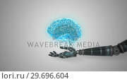 Купить «Robotic hand presenting digital human brain», видеоролик № 29696604, снято 25 января 2017 г. (c) Wavebreak Media / Фотобанк Лори