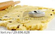 Купить «Rolling pin and cookie cutter on dough», видеоролик № 29696628, снято 8 декабря 2016 г. (c) Wavebreak Media / Фотобанк Лори