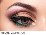 Купить «Closeup of beautiful woman eye with fashion makeup», фото № 29696796, снято 12 мая 2015 г. (c) Людмила Дутко / Фотобанк Лори