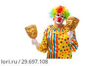 Купить «Male clown isolated on white», фото № 29697108, снято 28 сентября 2018 г. (c) Elnur / Фотобанк Лори