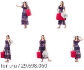 Купить «Young woman with suitcase isolated on white», фото № 29698060, снято 18 января 2019 г. (c) Elnur / Фотобанк Лори