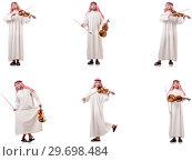 Купить «Arab man playing violin isolated on white», фото № 29698484, снято 19 января 2019 г. (c) Elnur / Фотобанк Лори