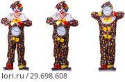 Купить «Funny male clown with alarm-clock», фото № 29698608, снято 19 января 2019 г. (c) Elnur / Фотобанк Лори