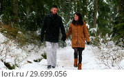Купить «Souple talking while walking on the snow covered forest path», видеоролик № 29699056, снято 30 ноября 2016 г. (c) Wavebreak Media / Фотобанк Лори