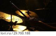 Купить «Drummer playing drum in studio», видеоролик № 29700188, снято 23 ноября 2016 г. (c) Wavebreak Media / Фотобанк Лори