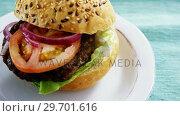 Купить «Hamburger served on plate», видеоролик № 29701616, снято 13 января 2017 г. (c) Wavebreak Media / Фотобанк Лори