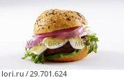 Купить «Hamburger against white background», видеоролик № 29701624, снято 13 января 2017 г. (c) Wavebreak Media / Фотобанк Лори