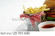 Купить «Snacks with ketchup in plate», видеоролик № 29701640, снято 13 января 2017 г. (c) Wavebreak Media / Фотобанк Лори
