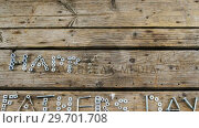 Купить «Happy fathers day text with old nails, screws, nuts and bolts arranged on wooden plank », видеоролик № 29701708, снято 13 января 2017 г. (c) Wavebreak Media / Фотобанк Лори