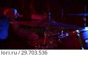 Купить «Drummer playing on drum set 4k», видеоролик № 29703536, снято 7 марта 2017 г. (c) Wavebreak Media / Фотобанк Лори