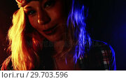 Купить «Female guitarist playing electric guitar 4k», видеоролик № 29703596, снято 7 марта 2017 г. (c) Wavebreak Media / Фотобанк Лори