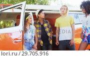 Купить «Group of friends interacting with each other near van 4k», видеоролик № 29705916, снято 9 марта 2017 г. (c) Wavebreak Media / Фотобанк Лори