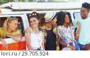 Купить «Friends having fun in camper van 4k», видеоролик № 29705924, снято 9 марта 2017 г. (c) Wavebreak Media / Фотобанк Лори