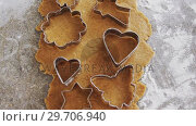 Купить «Gingerbread dough with flour and cookie cutter 4k», видеоролик № 29706940, снято 5 мая 2017 г. (c) Wavebreak Media / Фотобанк Лори