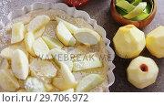 Купить «Slice of apple on tart with icing sugar 4k», видеоролик № 29706972, снято 5 мая 2017 г. (c) Wavebreak Media / Фотобанк Лори