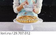 Купить «Woman icing sugar powder on apple tart 4k», видеоролик № 29707012, снято 5 мая 2017 г. (c) Wavebreak Media / Фотобанк Лори
