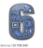 Купить «Number 6 six, Alphabet in circuit board style. Digital hi-tech letter isolated on white.», фото № 29708940, снято 8 декабря 2019 г. (c) Maksym Yemelyanov / Фотобанк Лори