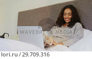 Купить «Happy woman using her laptop while sitting on bed with her cat 4K 4k», видеоролик № 29709316, снято 31 мая 2017 г. (c) Wavebreak Media / Фотобанк Лори